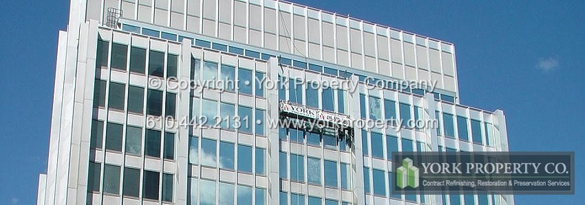 Aluminum building facade panels, metal siding and metal cladding are affected by sun / u.v. exposure, pollutants, corrosive elements, debris, salt air, dirt and increasing amounts of waterborne & airborne contaminants. Restoring old, pitted, oxidized and degraded aluminum cladding cleaning, refinishing and restoration. Oxidized, U.V. damaged, stained, chalked and faded aluminum building facade repairing, cleaning and refinishing.