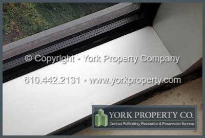 We get scratches off of anodized aluminum window sills and repair scratched anodized aluminum window frames.