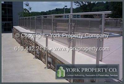 Stainless steel railing rust removal, stainless steel railing metal refinishing and dirty stainless steel railing restoration.