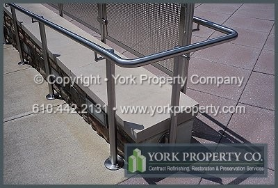 Clean, polished and refurbished stainless steel railings.