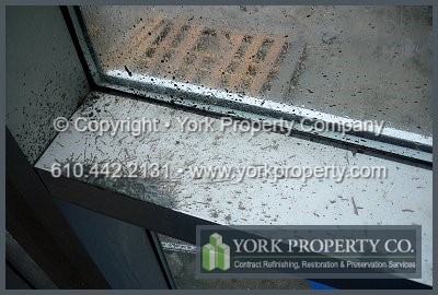 We have aluminum construction cleaning; aluminum restoration cleaning; aluminum scratch removal; aluminum algae, mold & mildew removal; aluminum masonry, concrete slurry, mortar and stucco remover programs. Our aluminum clear protective coatings clean, repair, restore and preserve sun faded and stained aluminum siding, signs, plaques, awnings, canopies, skylights, column covers, balcony railings and extrusions.