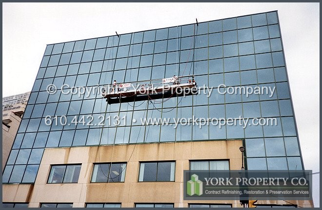 Painting Old Dull And Dingy Painted Aluminum Curtain Wall