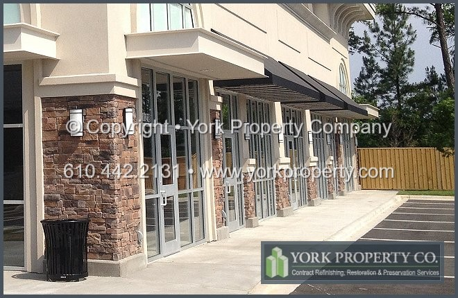 Restoring, cleaning and repairing concrete and mortar stained anodized aluminum. We refinish damaged, acid etched and oxidized anodized aluminum storefront window frames and anodized aluminum entrance doors.