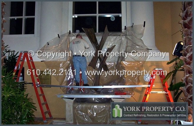 Cleaning stainless steel statues and refinishing stainless steel statues.