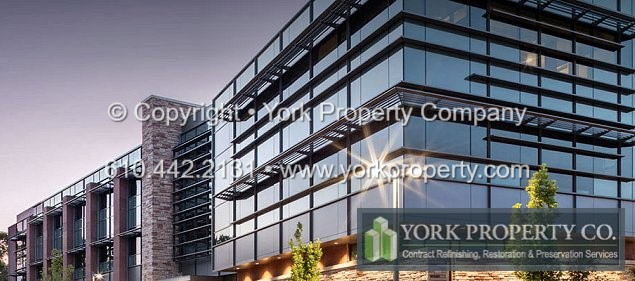 York Property Company offers a wide range of contracting services that solve remedial maintenance issues related to today's damaged architectural metal surfaces. Cleaning chalked and faded painted aluminum storefront windows, refurbishing oxidized anodized aluminum window frames, removing scratches from anodized aluminum window wall mullions and refinishing pitted stainless steel cladding is the foundation of our business.